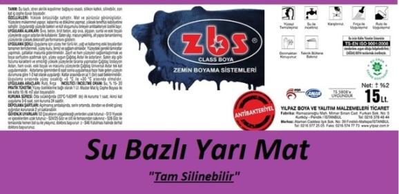 ZBS SU BAZLI YARI MAT BOYA (SATEN)