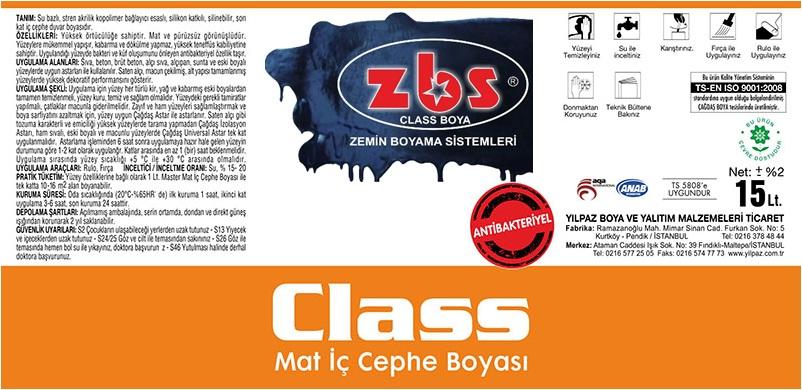 ZBS CLASS MAT PLASTİK BOYA