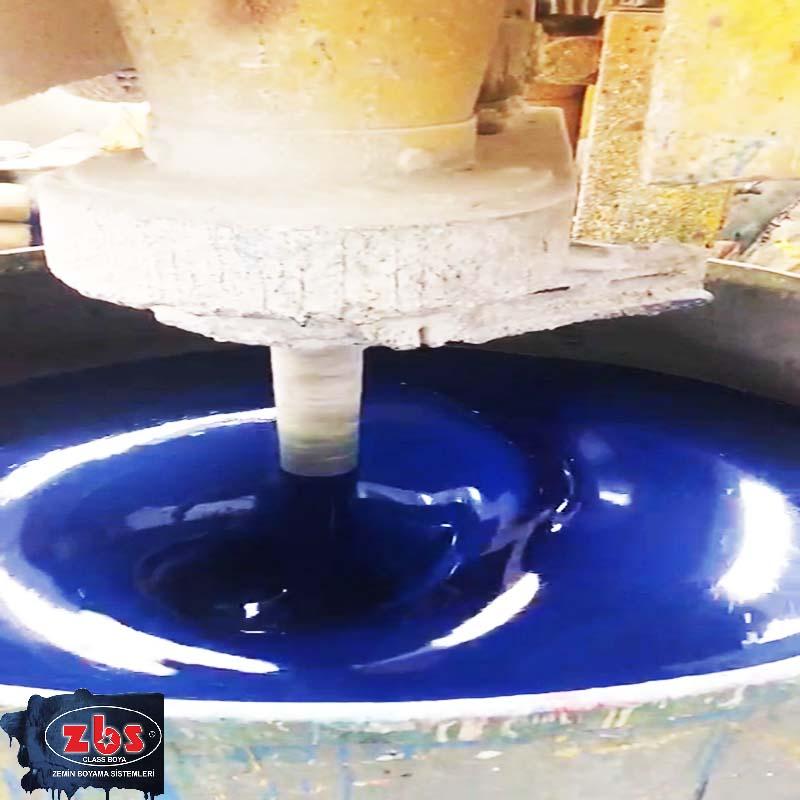 5015 renk kod'lu mavi Zemin Boyası üretimi mixer aşaması