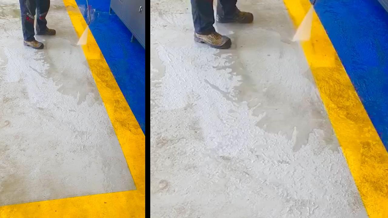 ZBS Zemin Boyası'nı temizlerken, yüksek basınçlı suyun darbesinden etkilenmez.