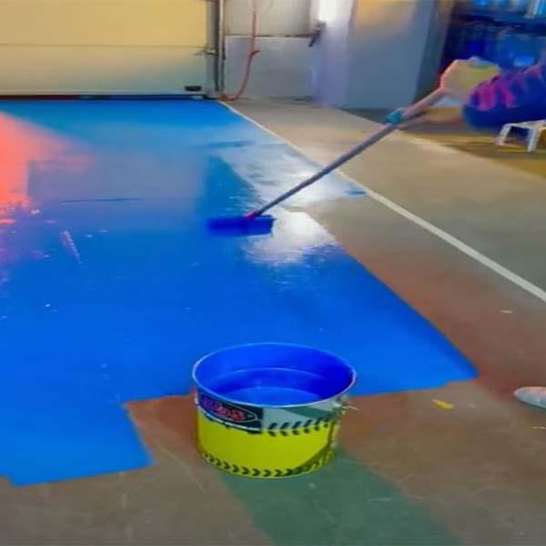ZBS Zemin Boyası ral 5015 mavi beton zemin uygulaması